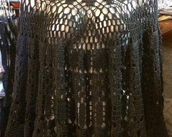 Vintage Milena Faundez black crochet poncho. Size S.