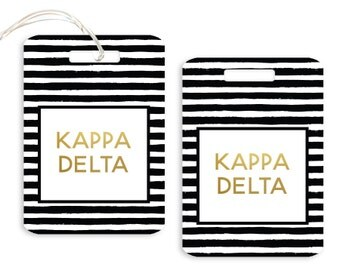 KD Kappa Delta Striped Luggage Tag Sorority Luggage Tag