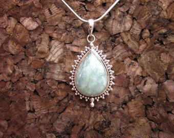 Aquamarine & Antiqued Sterling Silver Teardrop Pendant - #29