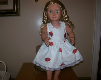 "18"" Doll Sundress-White with strawberry's with matching shoes"
