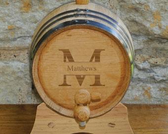 Monogrammed Mini Oak Whiskey Barrel - Wine Barrel - Groomsmen Gift