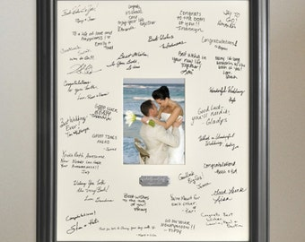 wedding guest book alternative signature frame with engraved plate