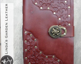 Handmade Leather Steampunk Journal or Sketchbook Large Clasp