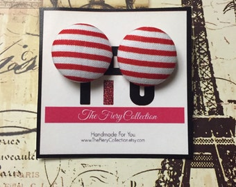 Clearance - Candy Cane Button Earrings