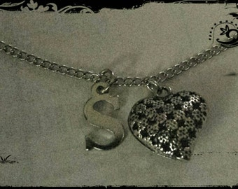 Heart Monogram Charm Necklace - Silver Custom Necklace