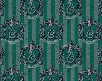Harry Potter- Slytherin - Digitally Printed Fabric - Multi - Sold by the 1/2 Yard