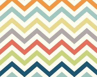 Skinny Chevron Organic Fabric- Multi - Sold by the 1/2 Yard