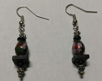 Black bead with purple flower earring