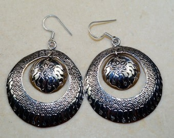 Stunning Solid & 925 Sterling Silver Earrings, Boho Jewelry, Bohemian Earrings,
