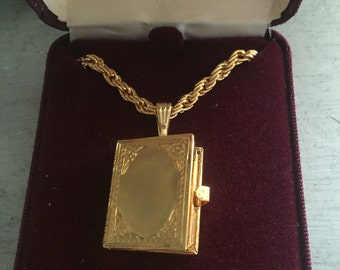 Book shaped picture locket