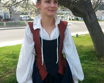Renaissance Dress Bodice Skirts middle class side lacing SCA LARP Cosplay costume