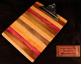 Medley clipboard, wooden clipboard, wood clip board, wood clipboard,