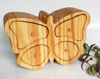 Wooden jewellery box original Unique Butterfly