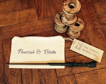 Harry Potter Inspired Pencil Case Embroidered Flourish & Blotts Pencil Case Gifts for Children Harry Potter Gifts