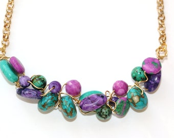 Metallic gold, purple and turquoise necklace