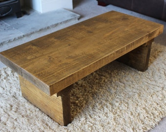 Rustic Handcrafted Chunky Reclaimed Wood Coffee Table In Oak Wax