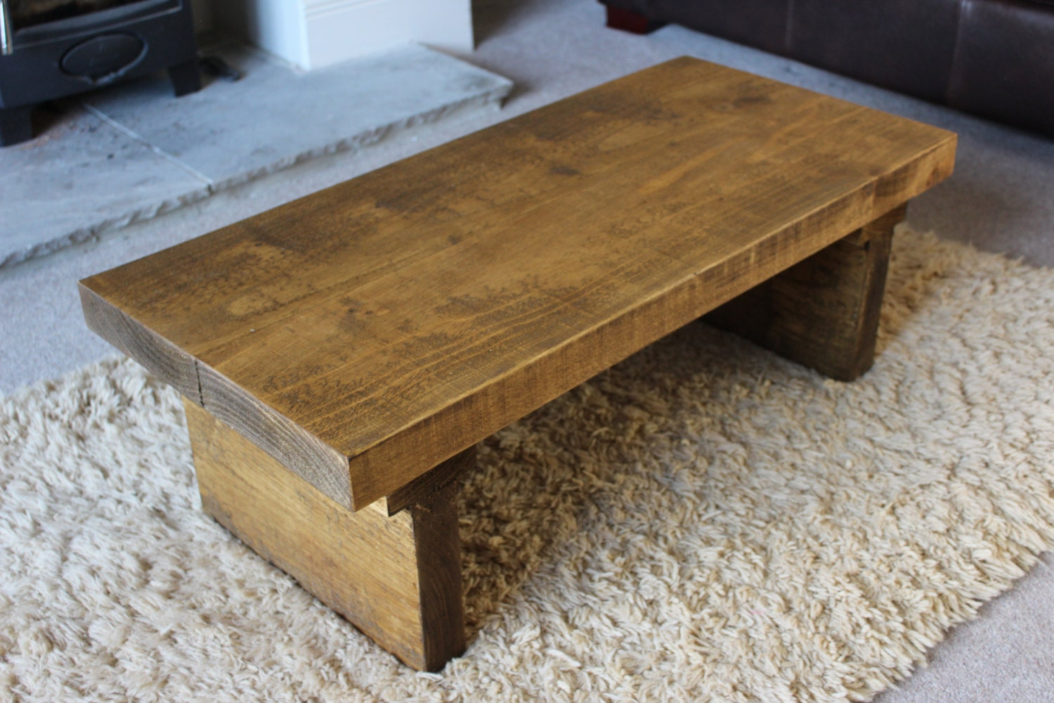 Rustic Handcrafted Chunky Reclaimed Wood Coffee Table In Oak