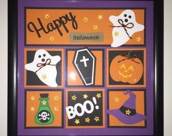 "Handmade 8""x8"" Halloween Framed Collage Decor, Happy Halloween, Framed Picture"