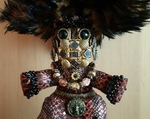 Original Mardi Gras Mischief Doll Tribal Feathered Serpent  by Connie Born