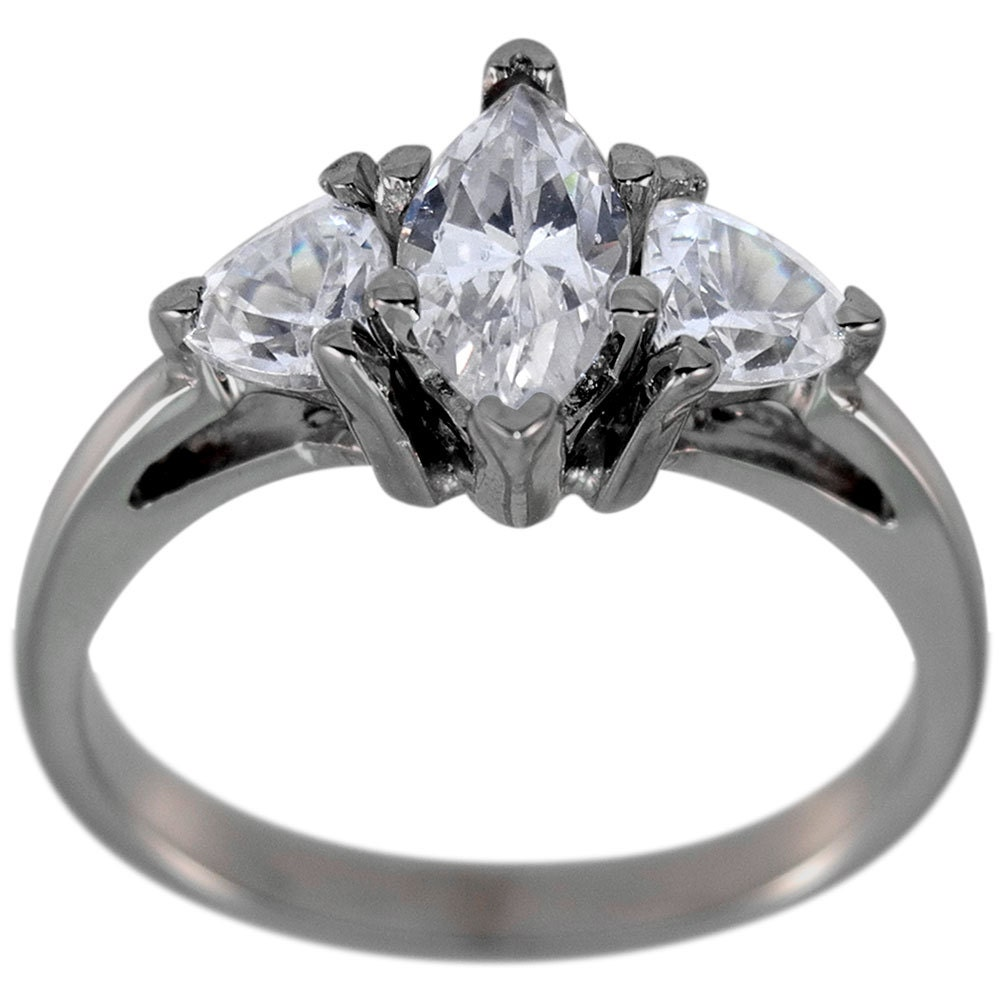 Marquise Diamond Engagement Ring With Trillions 3 4ct Marquise