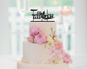Fall In Love Cake Topper, Wedding Cake Topper, Fall Wedding Decoration, Engagement Cake Topper, 021