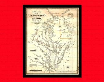 Map Chesapeake Bay and Delaware Bay Map 1862 - Ancient Map Wall Art Antique Map Poster Old Map Wall Decor Chesapeake Bay