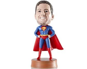 Superman Custom Bobblehead, Husband gift, Gift for husband, Personalized bobblehead, Father Gift, Retirement Gift, Gift for him