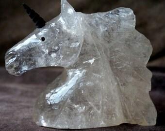 Quartz Crystal Unicorn with Bon Horn! 395 grams / 3/4 lbs!*