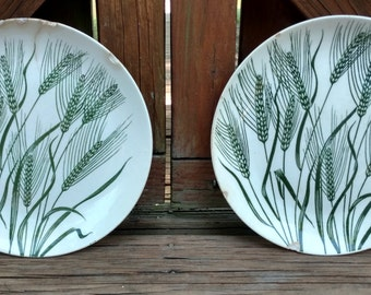 Pair of Primitive Homer Laughlin Wheat Americana 1950's/Country/Rustic/Primitive/Minimalist/Americana/#homerlaughlin/#wheatpattern/#oldplate