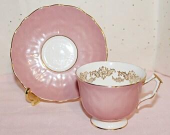 Vintage Aynsley Pink Crocus Teacup & Saucer with Gold Leaf Inside Upper Border Exquisite