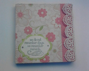 5x5 blank journal hardback pink flowers