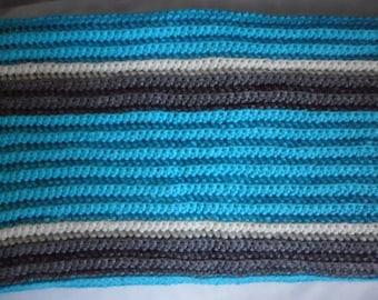 Striped Crochet Baby Blanket, Blue, White, Grey, Crib Blanket, Stroller Blanket