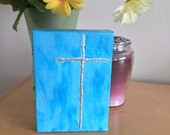 Cross Painting - 5 x 7 Religious Painting - Blue Cross Painting  - Religious Wall Art - Nursery Art  - Religious Gift- Textured Cross