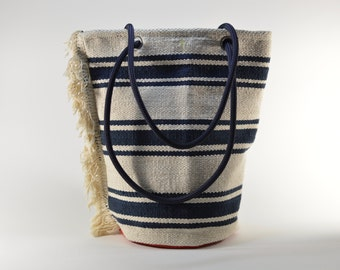 Bucket HandBag-Cotton canvas shoulderbag-cream navy blue cotton purse-Navy bag-Bucket Bag-Boho -Fringes- Stripes-Summer Everyday bag-