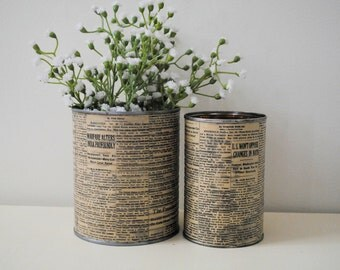 Antique Vintage Tin Cans Can Centerpiece Vase Upcycle