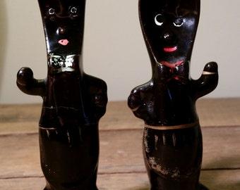 Vintage Black Fork and Spoon Salt and Pepper Shakers Japan