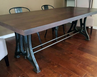 7 ft. Vintage Industrial Black Walnut & Cast Iron Dining Table