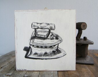 Print on wood, Antique iron print, Rustic wall sign, Kitchen decor, Retro decor, Hostess gift, Housewarming gift, Rustic kitchen Art