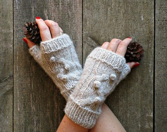 Cable knit mittens Knit wool gloves Hand knit gloves Beige knit gloves Knit fingerless gloves Knit gloves without fingers Great gifts for