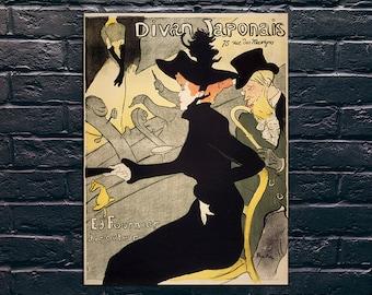 Divan Japonais Vintage Poster, Toulouse-Lautrec, French Vintage Poster Print, Sticker and Canvas Print