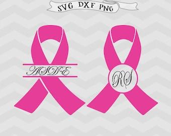 Awareness Ribbon SVG File Cutting Template Monogram breast cancer ribbon svg ribbon Clipart Cricut downloads Cameo Silhouette designs ribbon