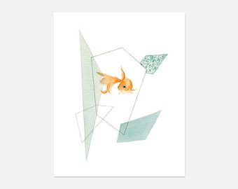 Gold Fish Watercolor Painting, Gold Fish Art Print
