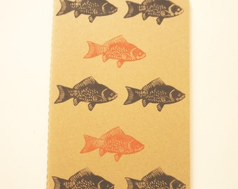 Fish Moleskine 13 x 21 cm linocut kraft cover notebook
