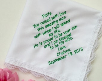 Wedding Handkerchief For Mother In law/Wedding Handkerchief-Customized- Embroidered/ From New Daughter/Free Wedding Handkerchief Gift Box