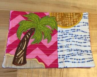 Palm Tree, Beach, Summertime mug rug, summer fun, ocean, water, sand, green pink, blue, gold, yellow, Summer, Gift, Teacher gift