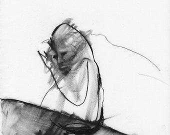 Figurative Charcoal Drawing 'It Follows Me' - Giclee Print -