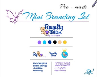 Pre made Branding Package, Branding Board Set, Premade Marketing Template,Business Branding, Royalty Baby Business Logo and Branding