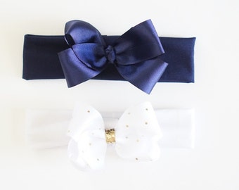 Boutique Style Grosgrain Ribbon Bow on Soft Lycra Headband, flamingos, gold, navy blue