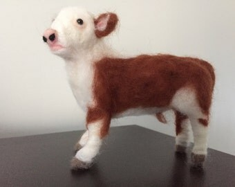 Needle felted Hereford calf