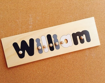 7 Letter Wooden Personalised Name Puzzle. Options include engraving and shapes